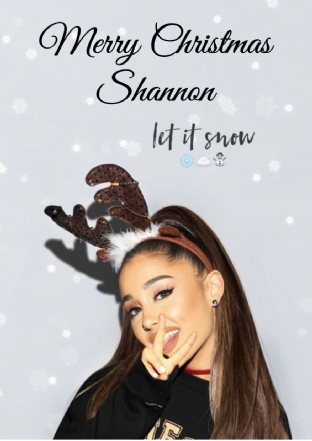 Personalised Ariana Grande Christmas Card Design 2